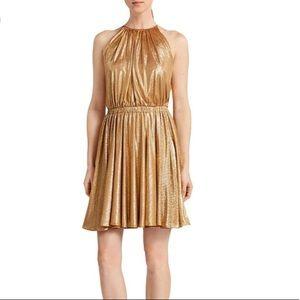 Halston Heritage Metallic Copper Dress